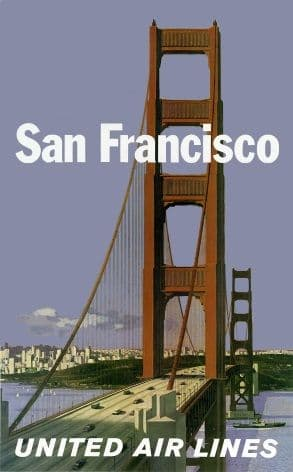 San Francisco - Golden Gate Bridge - United Air Lines - Vintage Airline Travel Poster