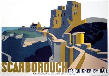 Scarborough Castle, Yorkshire. LNER Vintage Travel Poster by Frank Newbould. 1934