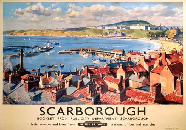 Scarborough Town, Yorkshire. BR Vintage Travel Poster by Gyrth Russell. 1950