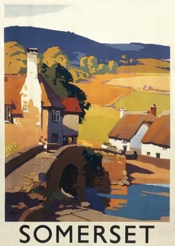 Somerset, England by GWR. English Railway Travel Poster Print