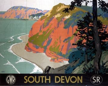 South Devon, Vintage GWR and SR Travel poster by Frank Newbould. 1945