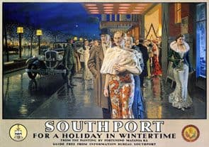 Southport in Wintertime, Merseyside. Vintage LMS Travel poster by Fortunino Matania