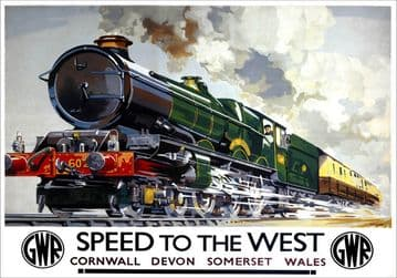Speed to the West. GWR Vintage Travel Poster by Charles Mayo