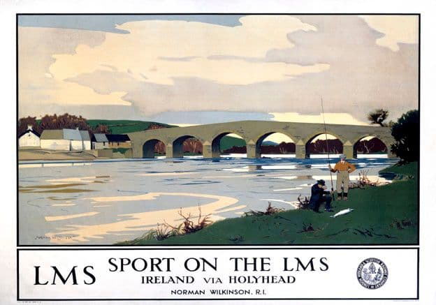 Sport on the LMS, Ireland via Holyhead. Vintage Travel poster by Norman Wilkinson