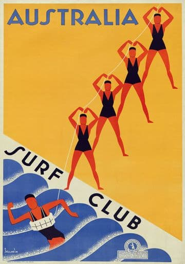 Surf Club Lifesavers, Australia. Vintage Travel poster by Gert Sellheim