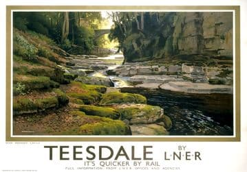 Teesdale, near Barnard Castle, Durham. LNER Vintage Travel Poster by Ernest William Haslehust