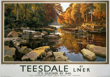 Teesdale, near Barnard Castle, Durham. Vintage LNER Travel poster by Ernest William Haslehust