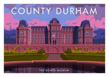 The Bowes Museum, Barnard Castle, Teesdale, County Durham, English Vintage inspired poster