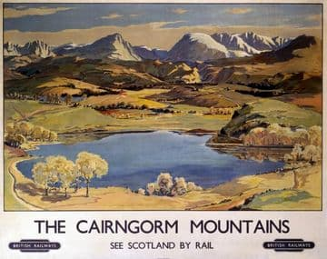 The Cairngorm Mountains Scottish Railway Travel Poster by British Railways