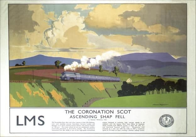 The Coronation Scot, Shap Fell, Cumbria. Vintage LMS Travel poster by Norman Wilkinson. 1937