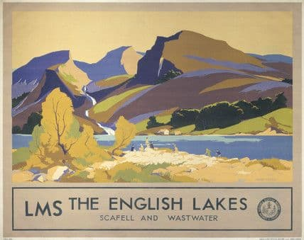 The English Lakes, Scafell & Wastwater, Cumbria. Vintage LMS Travel poster by John Mace