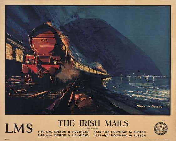 The Irish Mails, Railway Travel Poster, Shows The Irish mail trains passing in the night by LMS