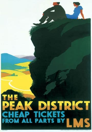 The Peak District. London Midland and Scottish (LMS) Vintage Travel Poster c1935