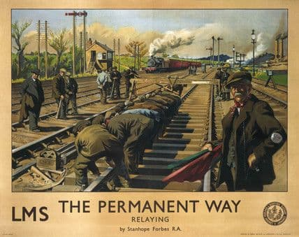 The Permanent Way, Relaying.  Railway Travel Poster Art Print by LMS