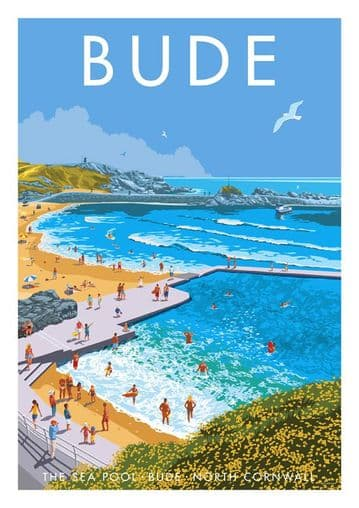 The Seapool Bude North Cornwall, Southern England. Vintage inspired Travel Poster Stephen Millership