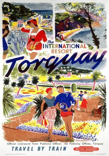 Torquay, Devon, The International Resort. Vintage British Railway (BR) Travel Poster by Brookshaw. 1956