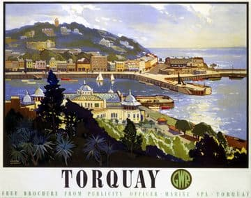 Torquay, Devon. Great Western Railway (GWR) Vintage Travel Poster by Leonard Richmond. 1947