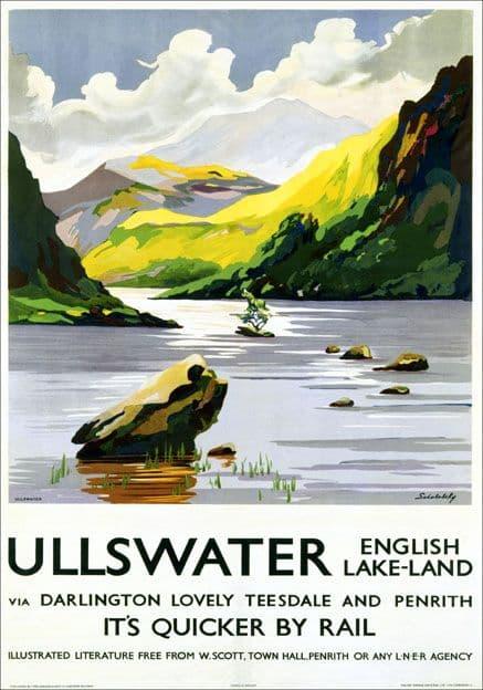 Ullswater, Lake District, Cumbria. LNER Vintage Travel Poster by Schabelsky