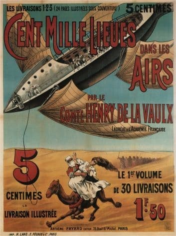 Vinatge French poster - Cent mille miles dans l'air