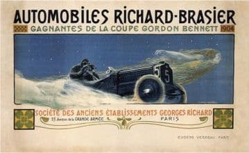 Vintage advertisment poster - Richard Brasier automobiles