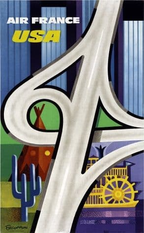 Vintage Air France Travel Poster, USA.