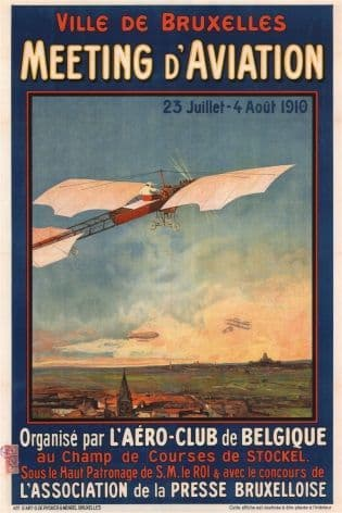 Vintage Belgian poster - Meeting d'Aviation (1910)
