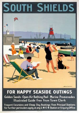 Vintage British Rail Travel Poster: SOUTH SHIELDS - COUNTY DURHAM