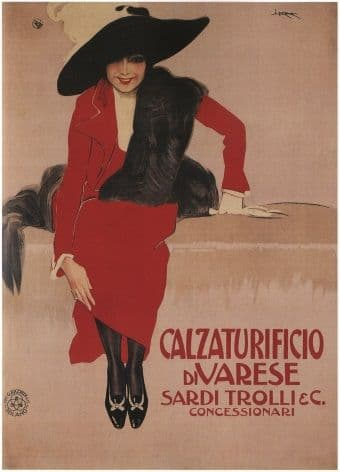 Vintage Calzaturifico Divarese Shoe Advertising Poster.