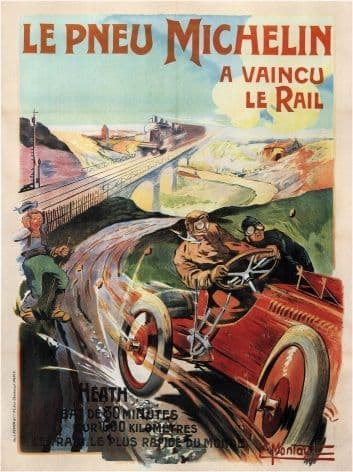 Vintage car advertisment poster - Michelin tyres