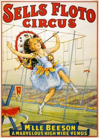 Vintage circus poster - Floto Circus presents M'lle Beeson, a marvelous high wire Venus