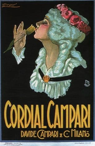 Vintage Cordial Campari Davide Campari Advertising Poster.