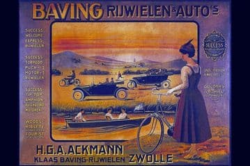 Vintage Cycle Poster -  Baving Rijwielen & Autos