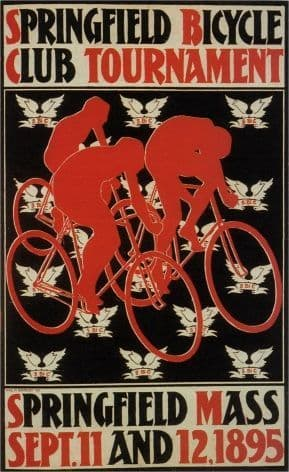 Vintage cycling poster - Springfield club tournament 1895