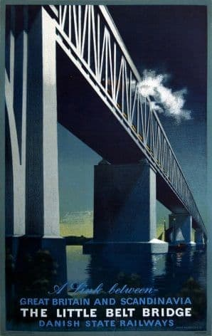 Vintage Danish poster - The Little Belt Bridge (1951)