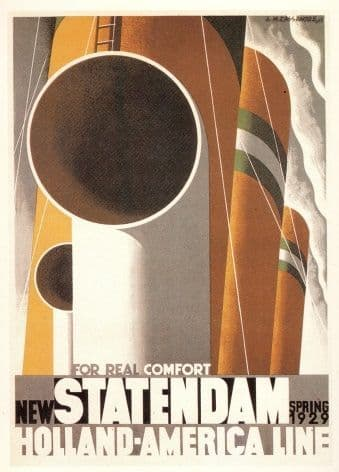 Vintage Ducth shipping poster - Statendam Holland-America line 1929