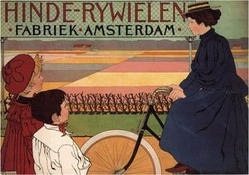 Vintage Dutch bicycle advertisment poster