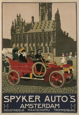 Vintage Dutch car advertisment poster - Spyker Auto's