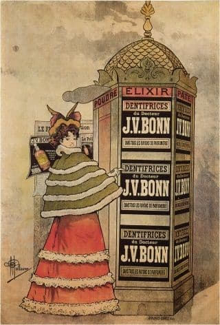 Vintage Elixir Dentifrices du Doctur J.V.Bonn, toothpaste Advertising Poster.