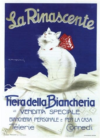 Vintage Fashion, La Rinascente, White Cat, Poster.