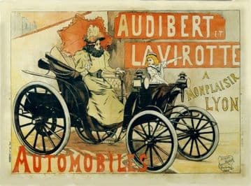 Vintage French car advertisment poster - Audibert automobiles