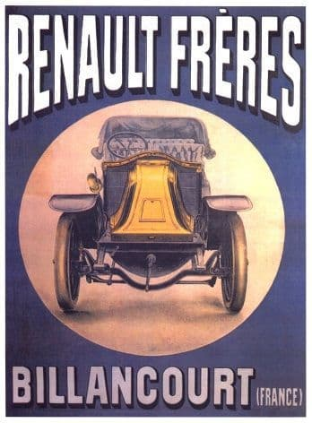 Vintage French car advertisment poster - Renault freres