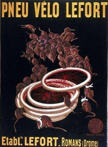 Vintage French cycling advertisment poster - Lefort bicycle tyres