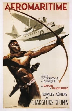 Vintage French poster - Aeromaritime airlines 1960