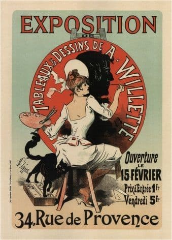 Vintage French poster - Exhibition of paintings and drawings.