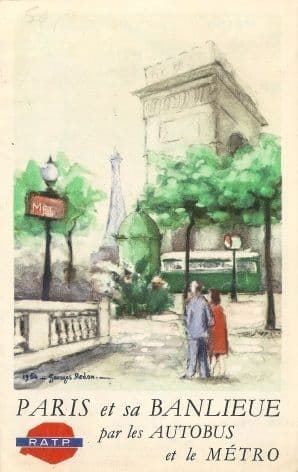 Vintage French poster - Paris bus and metro 1954