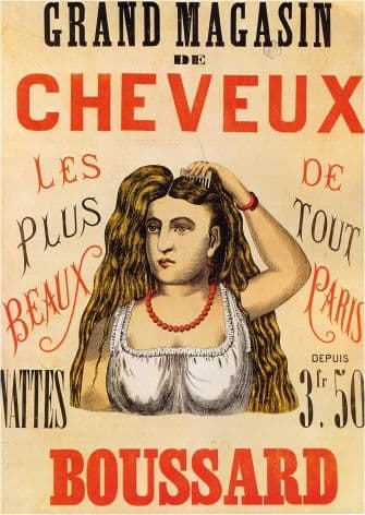 Vintage French Salon 1863 GRAND MAGASIN de CHEVEUX BOUSSARD Poster