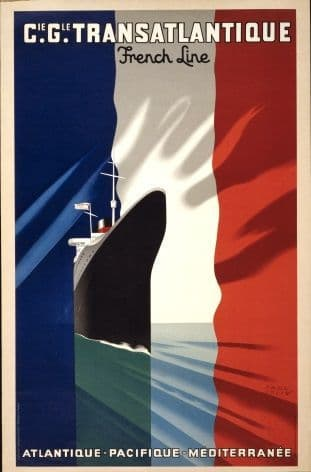Vintage French shipping poster - Transatlantique. French line 1937