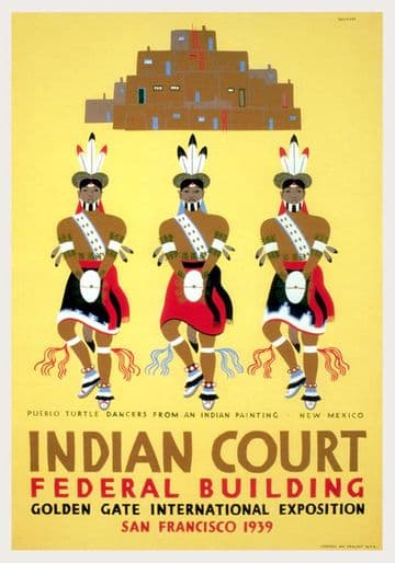 Vintage Indian Court Federal Building Poster. San Francisco, North America.