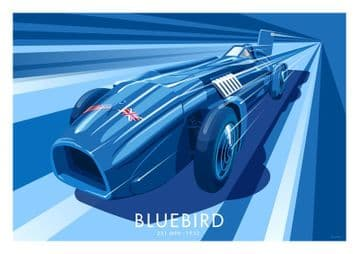 Vintage Inspired Blue Bird, Bluebird car Poster, Sir Malcolm Campbell by Stephen Millership