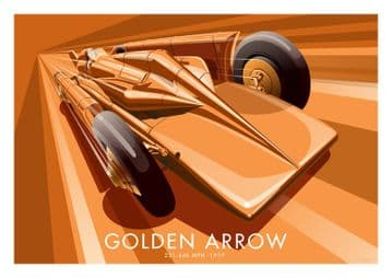 Vintage Inspired Golden Arrow Car Poster by Stephen Millership. Henry Segrave Land Speed Record 1929